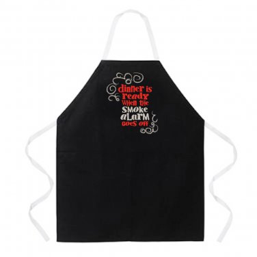 Dinner is Ready when the smoke alarm Apron. Kitchen Barbeque novelty apron