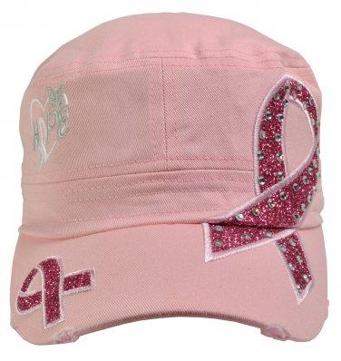 Breast Cancer Awareness Hat Hope Light Pink rhinestone