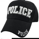 POLICE  Black Hat White Embroidered Snapback with Adjustable Velcro Strap