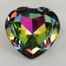 Crystal Glass Heart Jewel Rainbow Paperweight 80 mm, 3 1/8 inch silver back