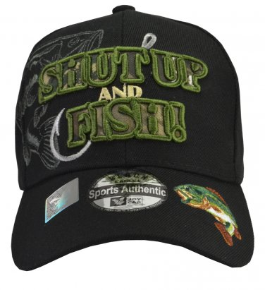 SHUT UP and FISH black hat Green embroidery with bass cap hat Fisherman gift bass