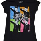 Justin Bieber black four photos Concert official Licensed Youth shirt size Medium (12-14)