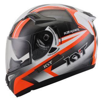 Helm K2 Rider seri 2 White Gunmetal Orange