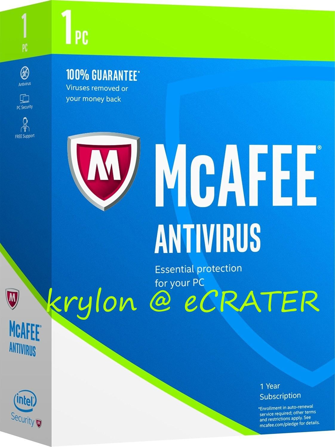 McAfee AntiVirus 2017 - 1 PC - 1 Year Full Version Product Key Download