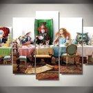 Alice in Wonderland Movie 5pc framed Oil Painting Wall Decor Disney room art