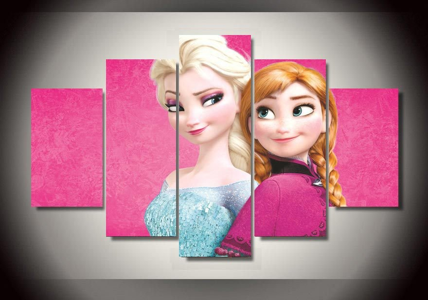 Anna and Elsa Disney Frozen Framed 5pc Oil Painting Wall Decor Cartoon Arr