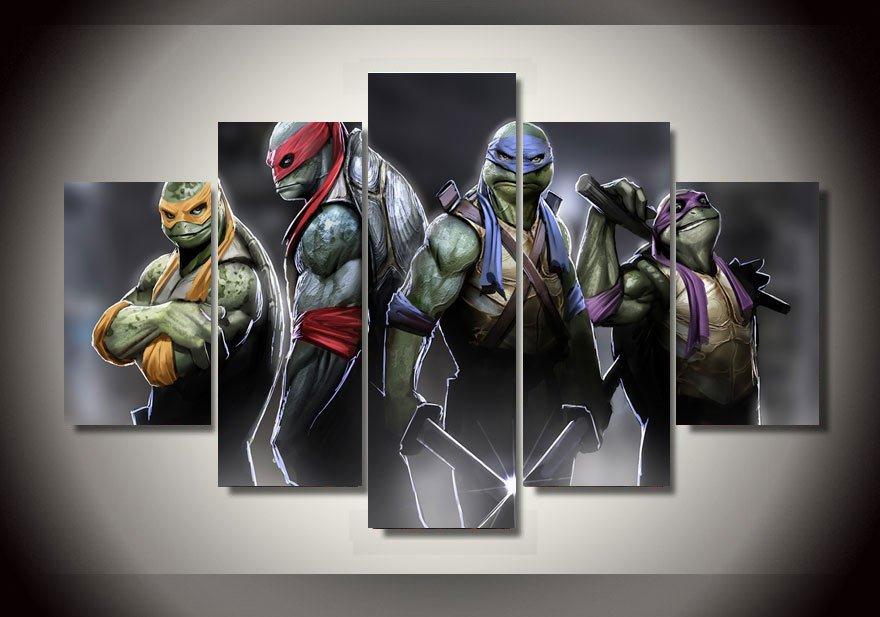 Teenage Mutant Ninja Turtles Movie 5pc Framed Oil Painting Wall Decor room art