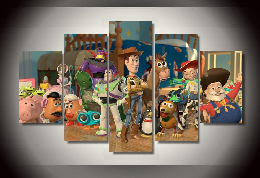 Toy Story Framed 5pc Oil Painting Wall Decor Woody Buzz Lightyear Disney Cartoon