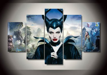 Maleficent Movie Cover Framed 5pc Oil Painting Wall Decor