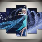 Elsa Disney Princess Frozen Framed 5pc Oil Painting Wall Decor Cartoon art
