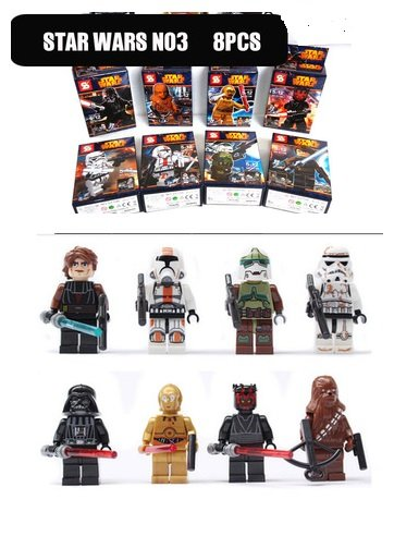 Stars Wars 3 Character Collection of 8 Set w/Boxes Mini Figures Building Blocks Minifigures Compatible