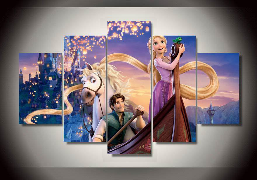 Tangled Rapunzel Framed 5pc Oil Painting Wall Decor-  Disney Princess Cartoon