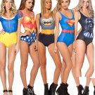 Superhero Women One Piece Bathing suit Swimwear Batman, Wonderwoman, Superman, Alice