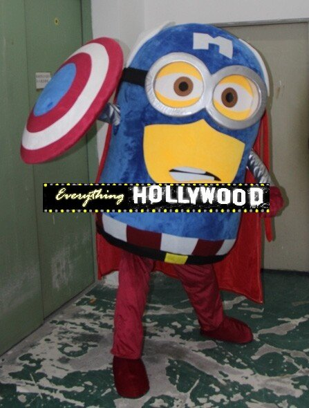Captain America Minion Mascot Costume Adult Cartoon Character -SALE LIMITED TIME