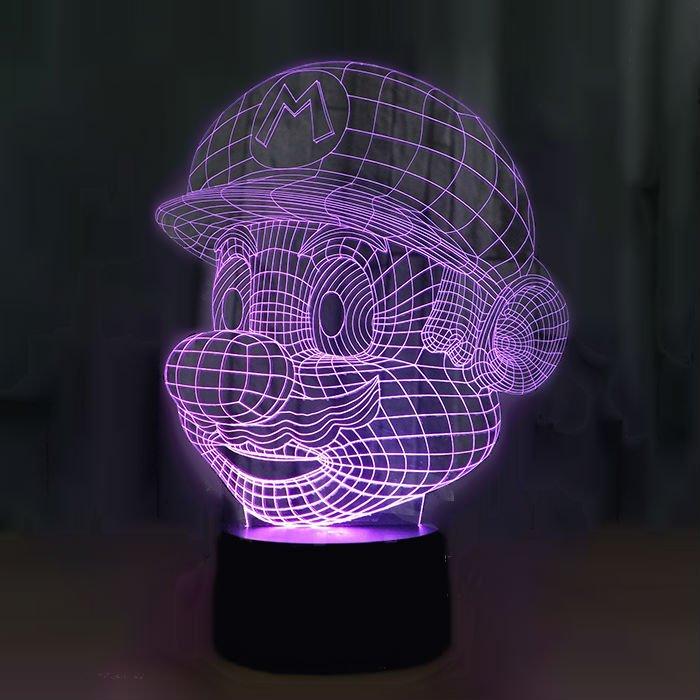 Super Mario 3D LED Light Lamp Tabletop Decor 7 Colors -NEW
