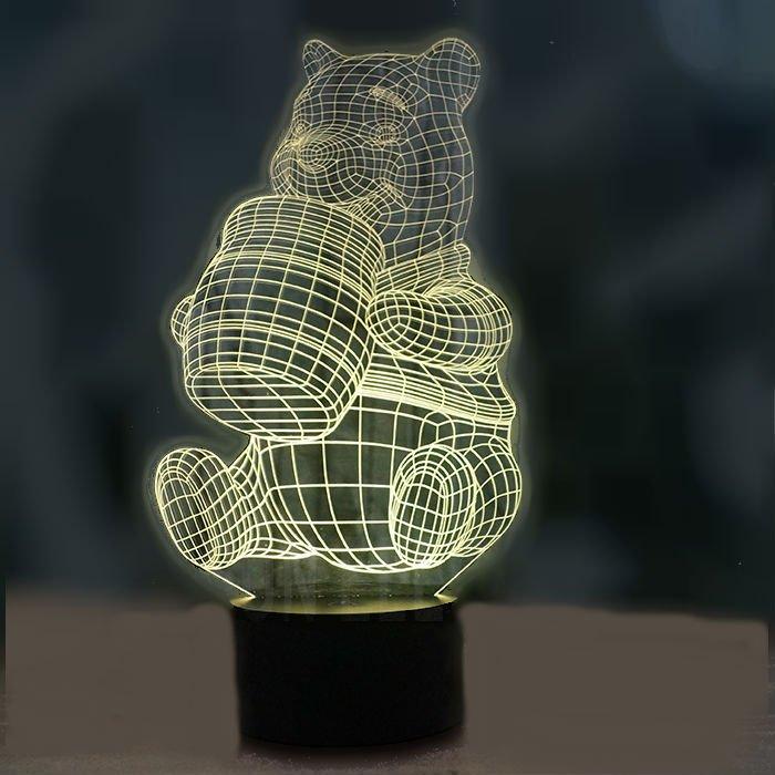 Winnie the Pooh 3D LED Light Lamp Tabletop Decor 7 Colors -NEW