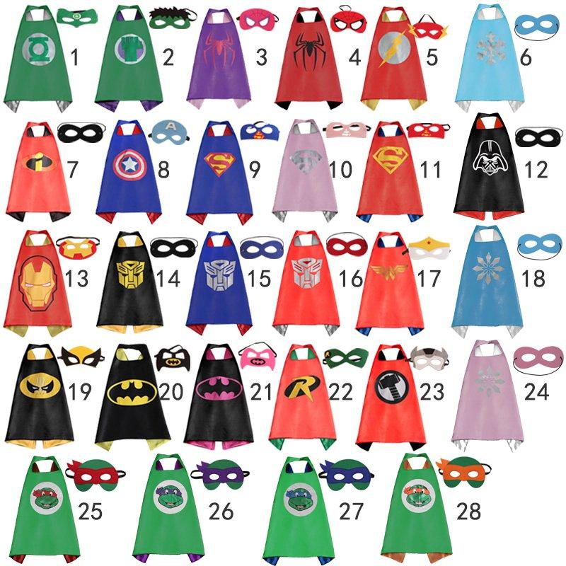 Superhero Cape and mask set 28 Designs Batman, Superman, Ninja Turtles, Captain America
