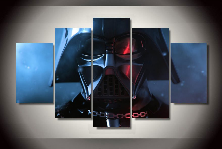 Darth Vader Star Wars 5pc Wall Decor Framed Oil Painting bedroom art  HD
