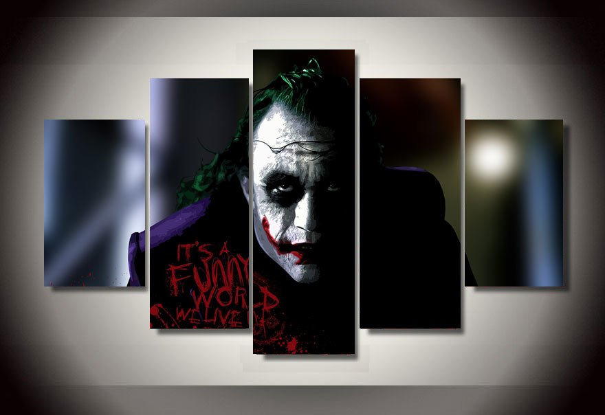 The Joker Batman Movie DC Comics 5pc Wall Decor Framed 2 Oil Painting Superhero