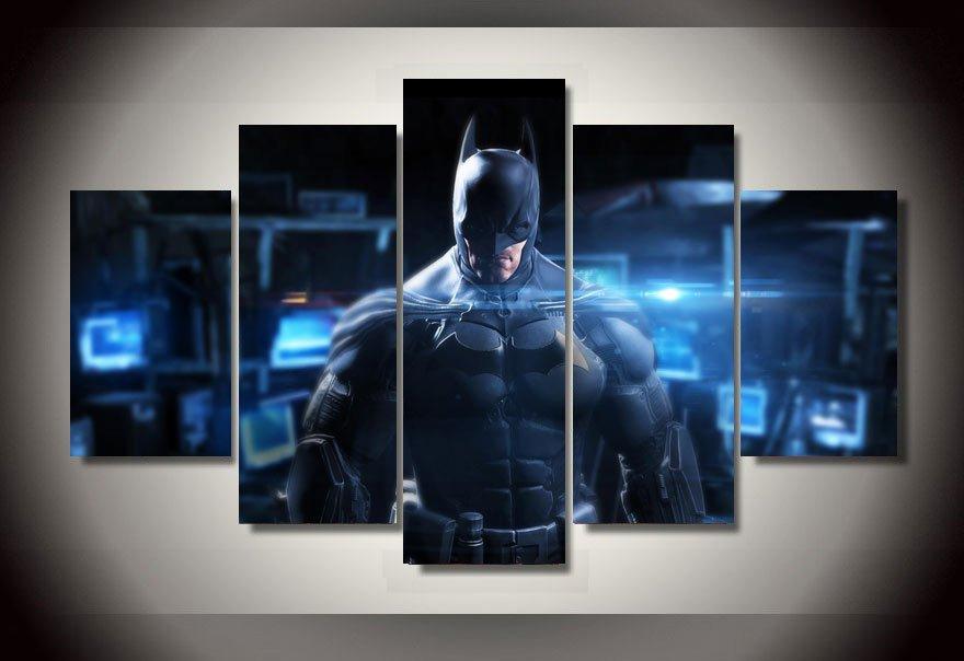 Batman Movie 5pc Wall Decor Framed  Oil Painting DC Comics Superhero Art