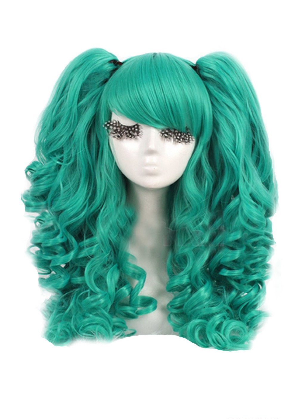 Anime 2 ponytail Green Female Adult Costume Wig Accessory Halloween Cosplay