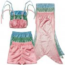 Mermaid 3pc swimsuits for Girls Kids Bikini Top, Shirts and Tails 3T, 4T, 5, 6, 7