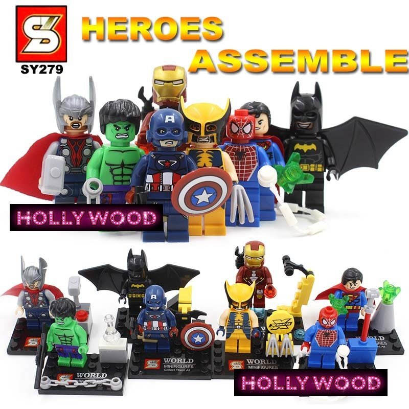 Superhero DC MARVEL 8pc Mini Figures Building Blocks Minifigures Block Build Set 4