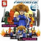 Fantastic 4 8pc Mini Figures Building Blocks Minifigures Block Build Set 1