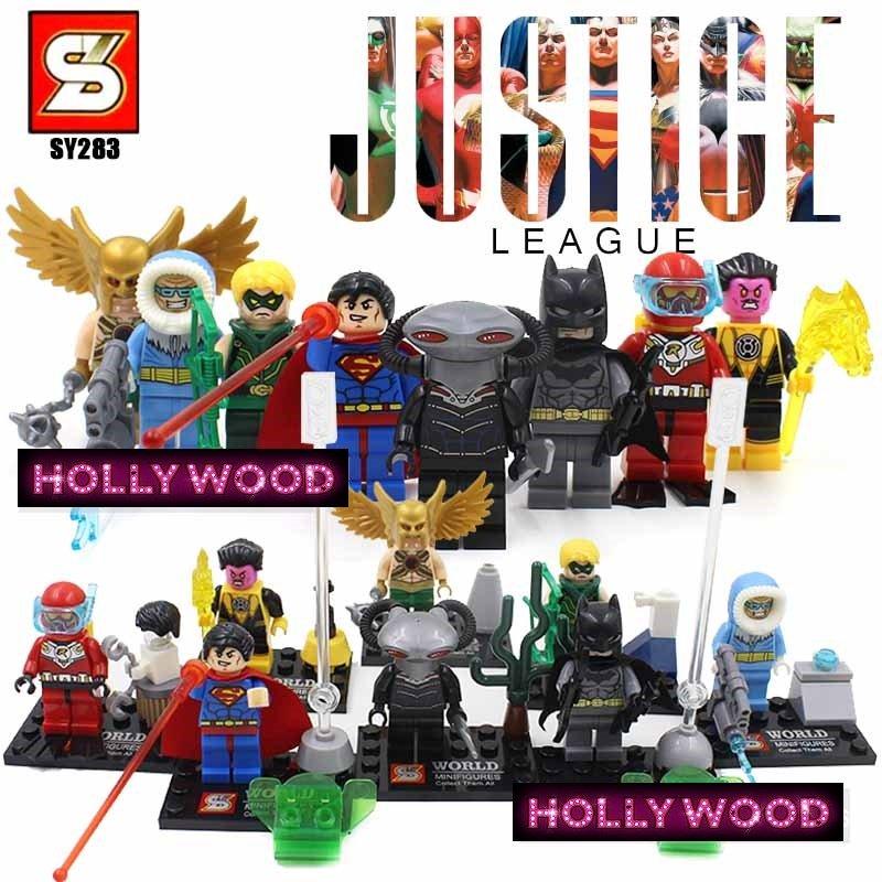 Justice League SuperHero 8pc Mini Figures Building Blocks Minifigures Block Build Set