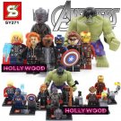 Avengers 8pc Mini Figures Building Blocks Minifigures Block Build Set Hulk Captain America Thor