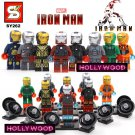 Iron Man Marvel 8pc Mini Figures Building Blocks Minifigures Block Build Set