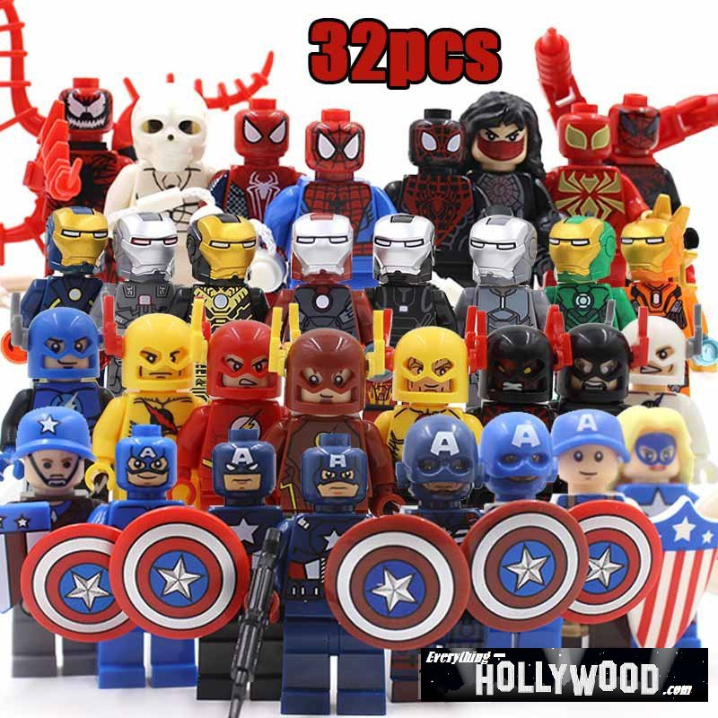 Superhero DC Marvel 32pc Mini Figures Building Blocks Minifigures  Set 2 Captain America Flash