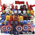 Superhero DC Marvel 32pc Mini Figures Building Blocks Minifigures  Set 2 Captain America Flash