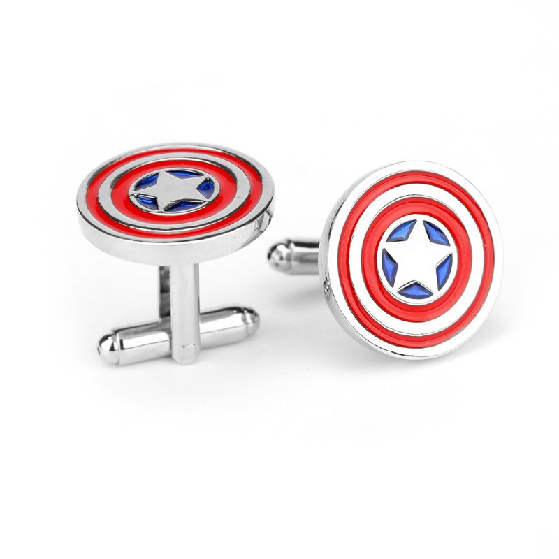 Captain America Cufflinks Dress Shirt Attire Accessory