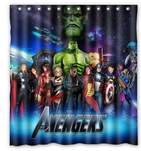 Avengers All Shower Curtain Anime Cartoon Marvel Hollywood Design