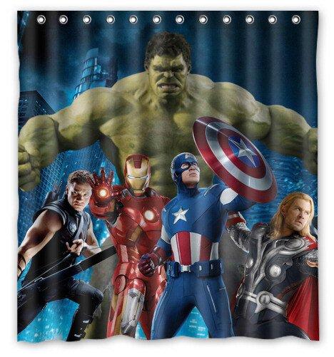 Avengers Team Shower Curtain Anime Cartoon Marvel Hollywood Design Captain America Ironman Thor Hulk