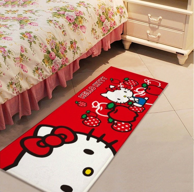 Hello Kitty Red Accent Carpet Rugs 17x47in for Bedroom Living Room Green