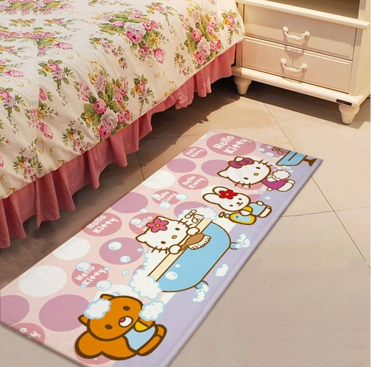 Hello Kitty Bath Design Accent Carpet Rugs 17x47in for Bedroom Living Room Green