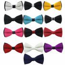 Solid Double Color Butterfly Bowties Multi Color Selection - 13 Colors