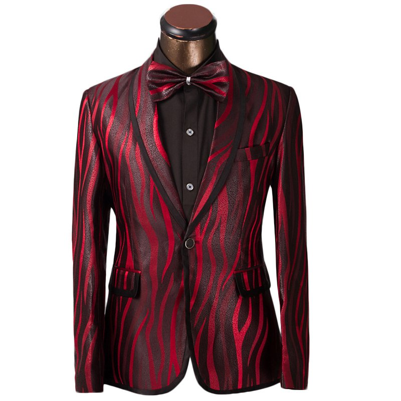 Mens Red and Black Tuxedo Suit Luxury Zebra Design Attire Coat and Pants -XS to 6xl Sale Ends SOON