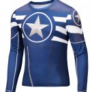 Captain America Avenger Classic Compressed Superhero Long Sleeve Shirt Marvel Small to 6XL SALE $15