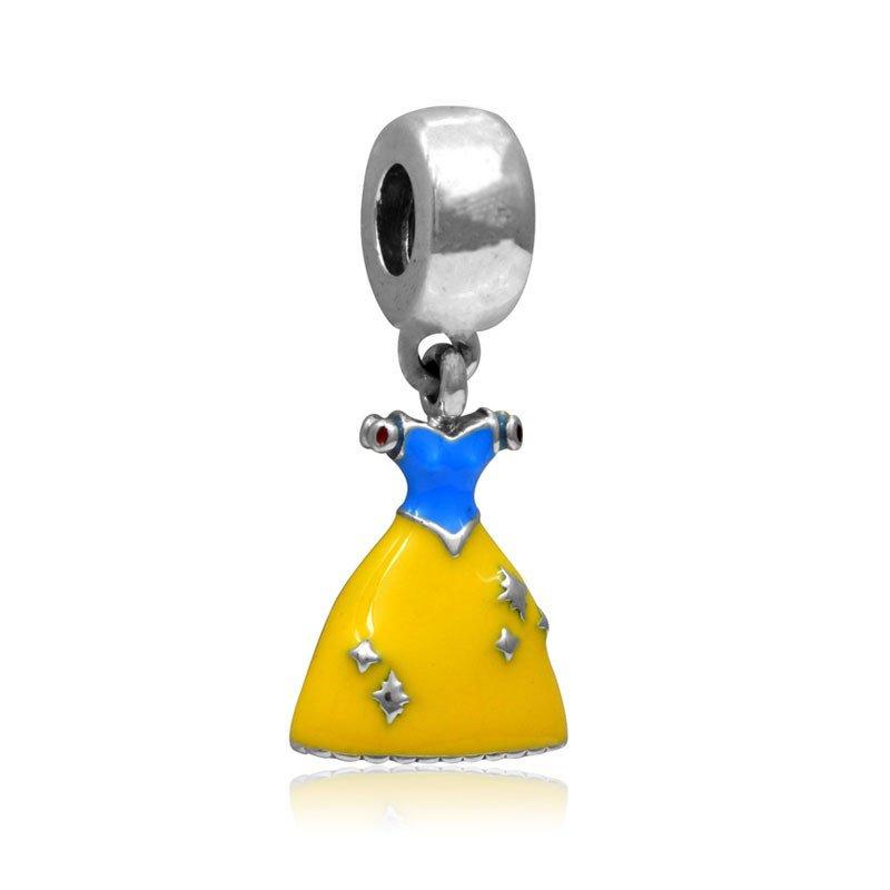 Princess Snow White Dress Silver Pendant Charm for Pandora Bracelet $1 Shipping