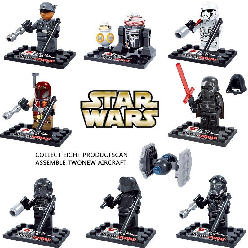 Star Wars The Force Awakens 8pc Mini Figures Building Blocks Minifigures Block R2D2 Kylo Ren