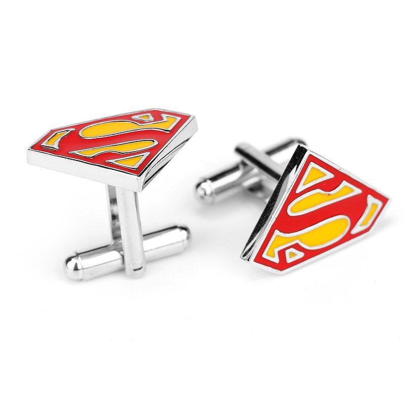 Superman Triangle S Enamel Cufflinks Marvel DC Superhero Pair / Set