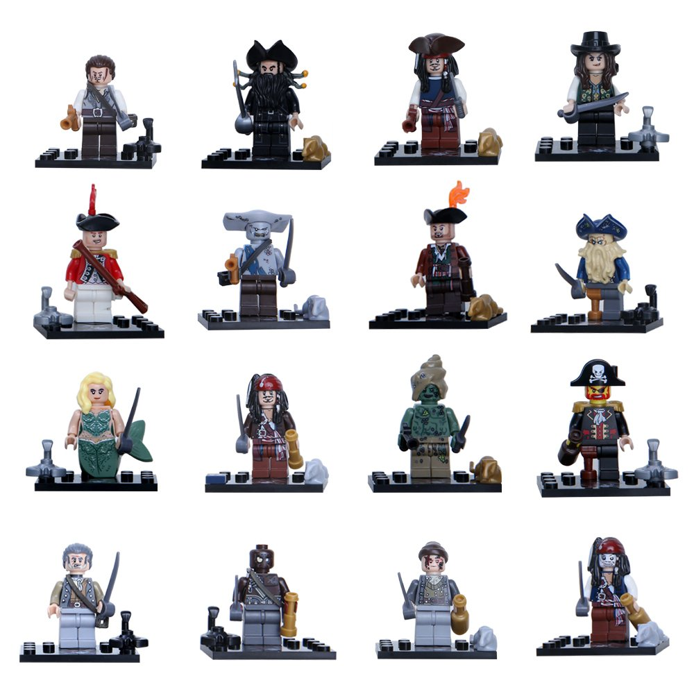 Pirates of the Caribbean 16pc Mini Figures Building Blocks Minifigures set