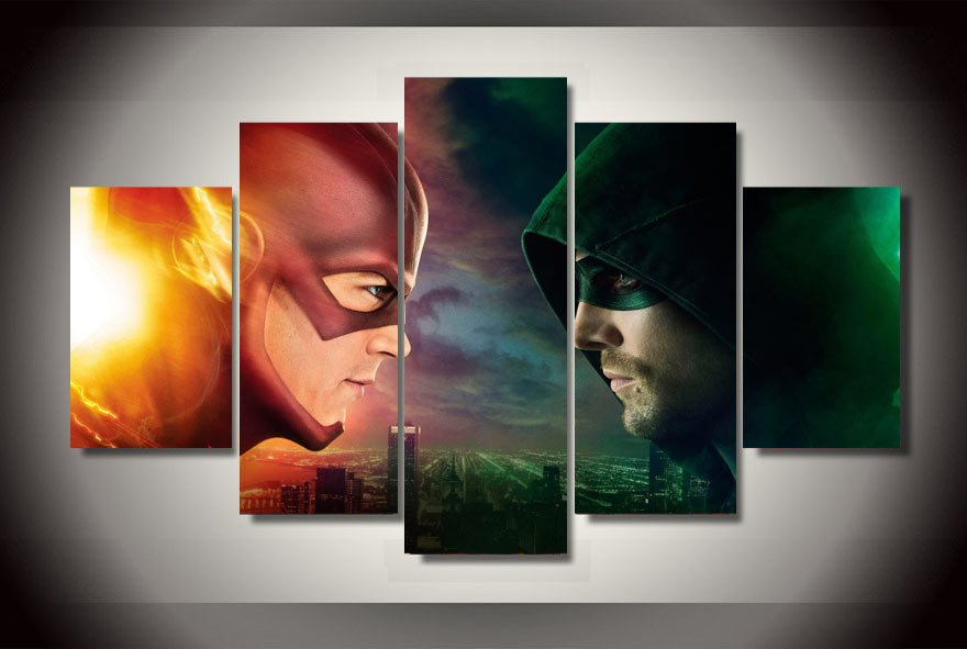 The Flash Movie Marvel and Green Arrow 5pc Wall Decor Framed Oil Painting Superhero