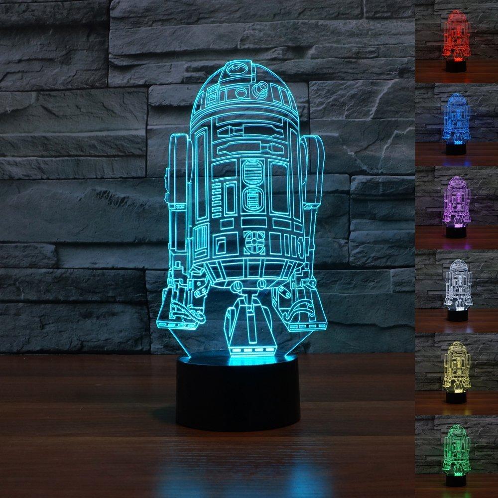 R2D2 3D LED Light Lamp Tabletop Decor 7 Colors -Star Wars Character