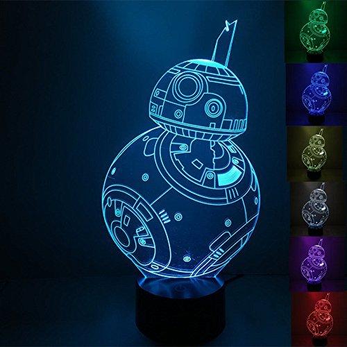 FORCE AWAKENS 3D LED Light Lamp Tabletop Decor 7 Colors -Star Wars Character