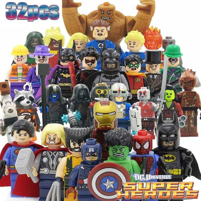 Superhero DC Marvel  32pc Mini Figures Building Blocks Minifigures Block Build Set 3 Avengers Batman