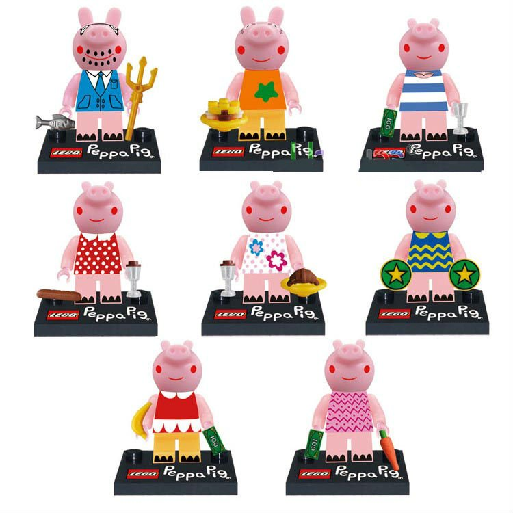 Peppa Pig Minifigures for Building Blocks Minifigures 8pc Collection Set Mini Figures George and Peppa Pig